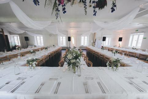 Bröllopsdukning i Segelsalen