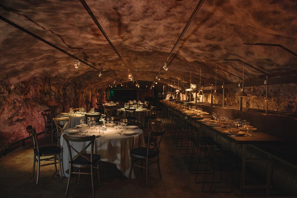 Uppdukat för middag i Bergrummet Skeppsholmen