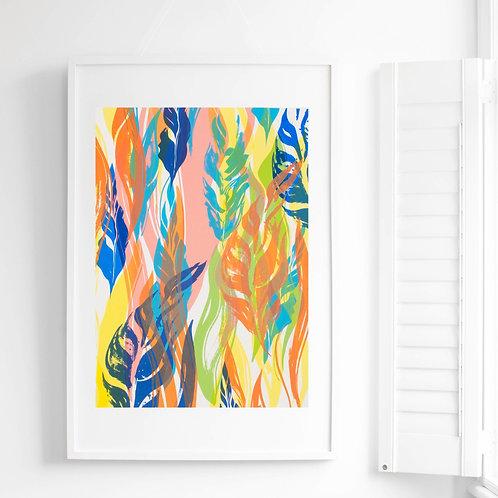 4 Flowing Leaves Screen Print