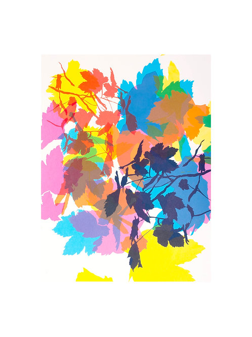 1. Summer Leaves Pink & Turquoise 56 x 38 cm