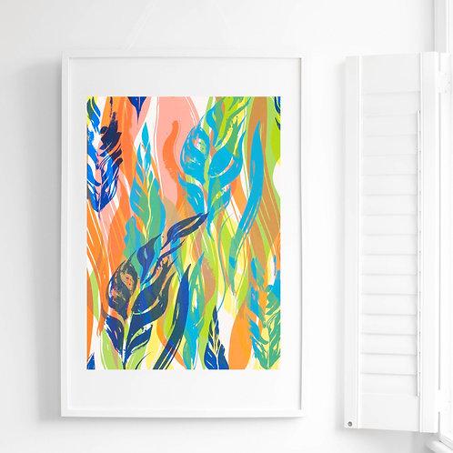 5 Flowing Leaves Screen Print