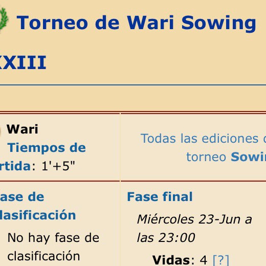 Sowing DXXIII Oware Tournament