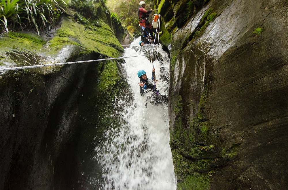 A guided rappell through the canyon