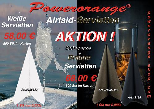 Airlaid-Servietten in weiß+braun+schwarz, 800Stk im Karton!