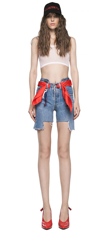 Blue Double Belted Shorts