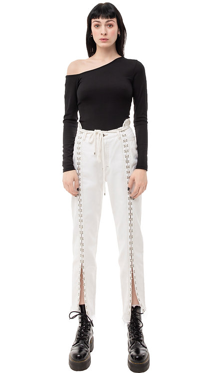 Hooks and Eyelets White Jeans