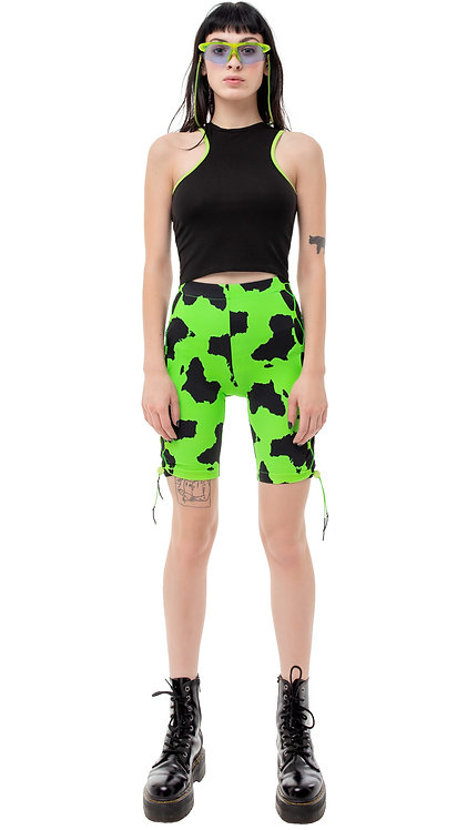 Green High Waisted Cycling Shorts