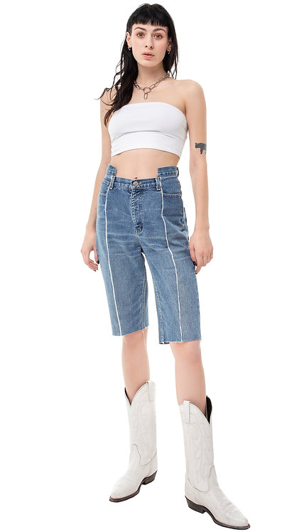 Front Slit Futuristic Denim Cycling Shorts / Reworked