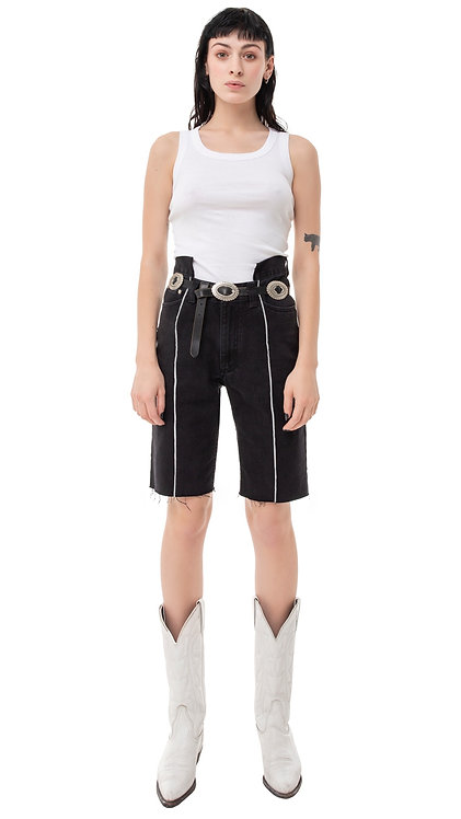 Front Slit Futuristic Denim Cycling Shorts / Black / Reworked