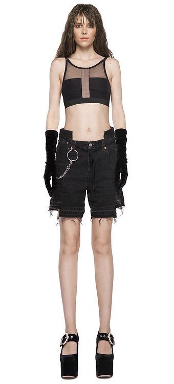 Black Metal Golub.udp Shorts / Made from Vintage Denim