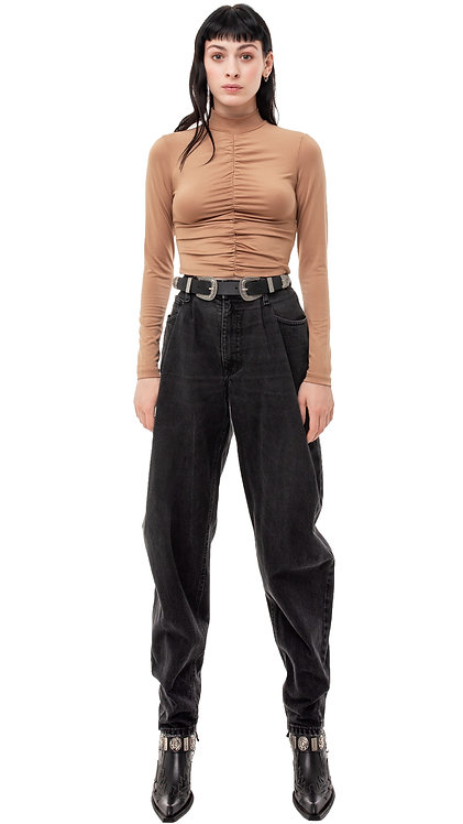 Black Pleated Tapered Jeans / Mom