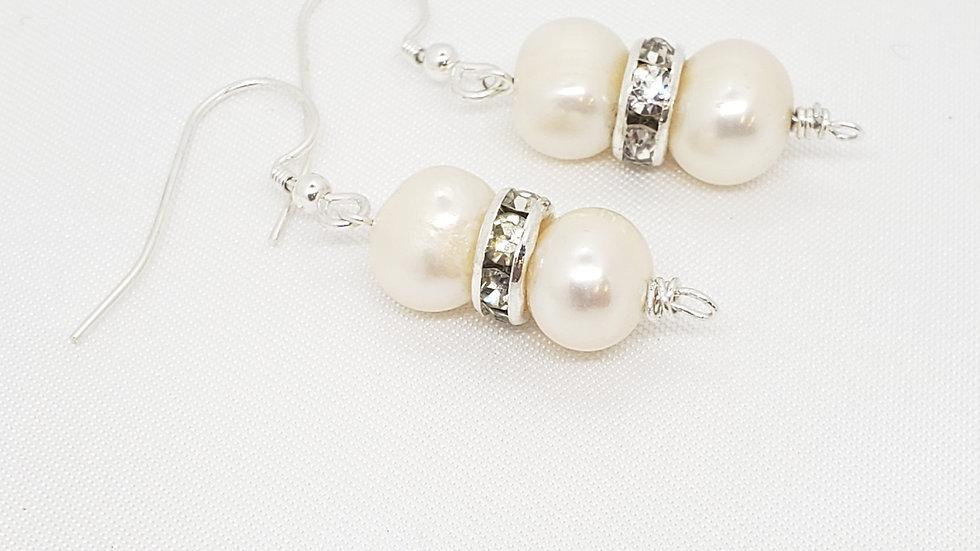 Pearl Rondelle Earrings 925 Sterling Silver
