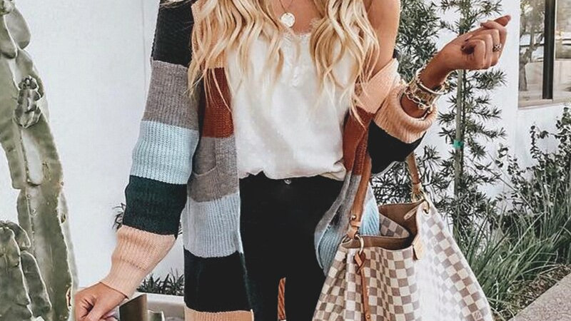 Strip Patchwork Winter Knitted Cardigans