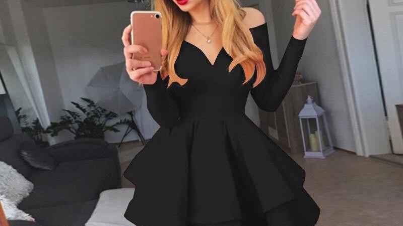 Red Black White Party Dress Long Sleeve Plus Size Princess Mini Dress