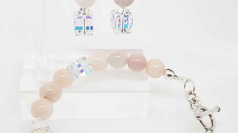 Morganite Toggle Bracelet & Earrings Set