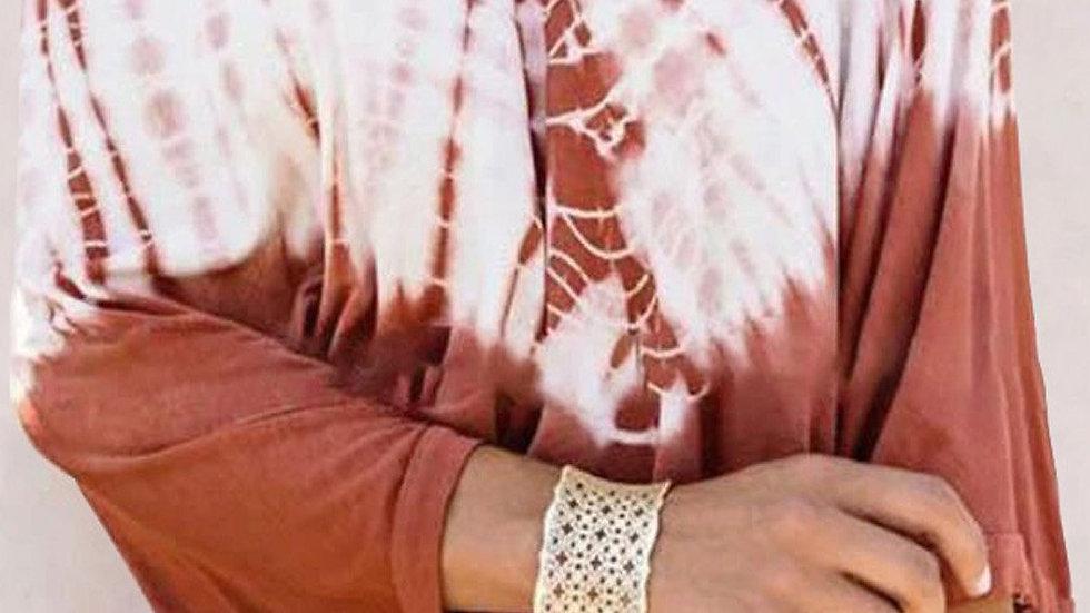 Orange Tie-Dye Print Batwing Long Sleeve Loose Casual Blouse