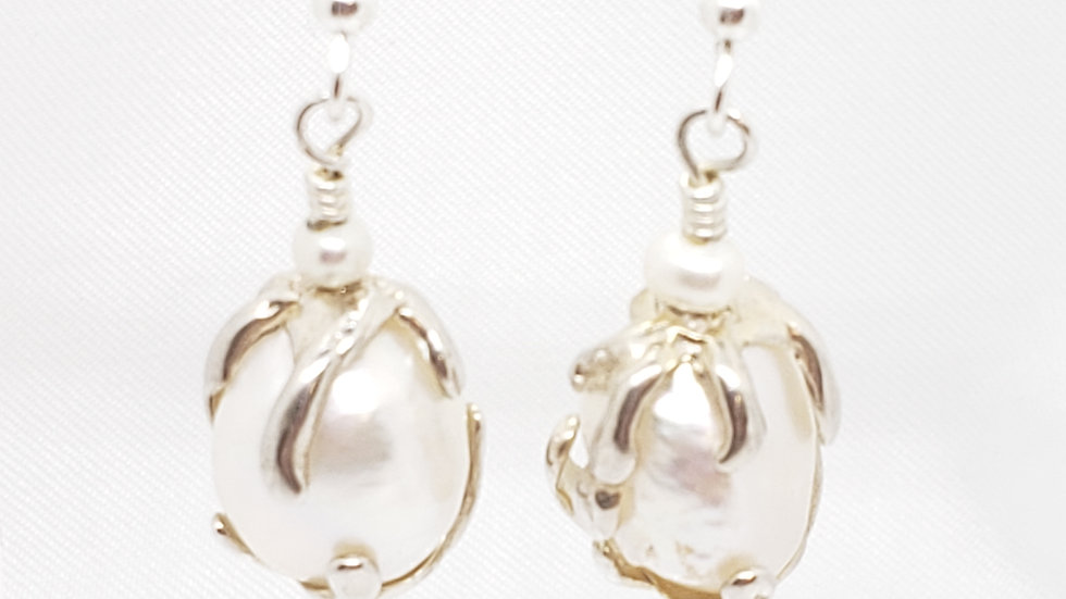 Baroque Pearl Earrings 925 Sterling Silver