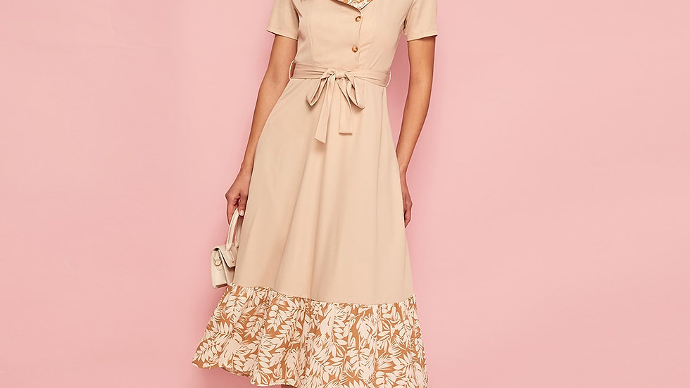 Lapel Collar Contrast Ruffle Hem Shirt Dress