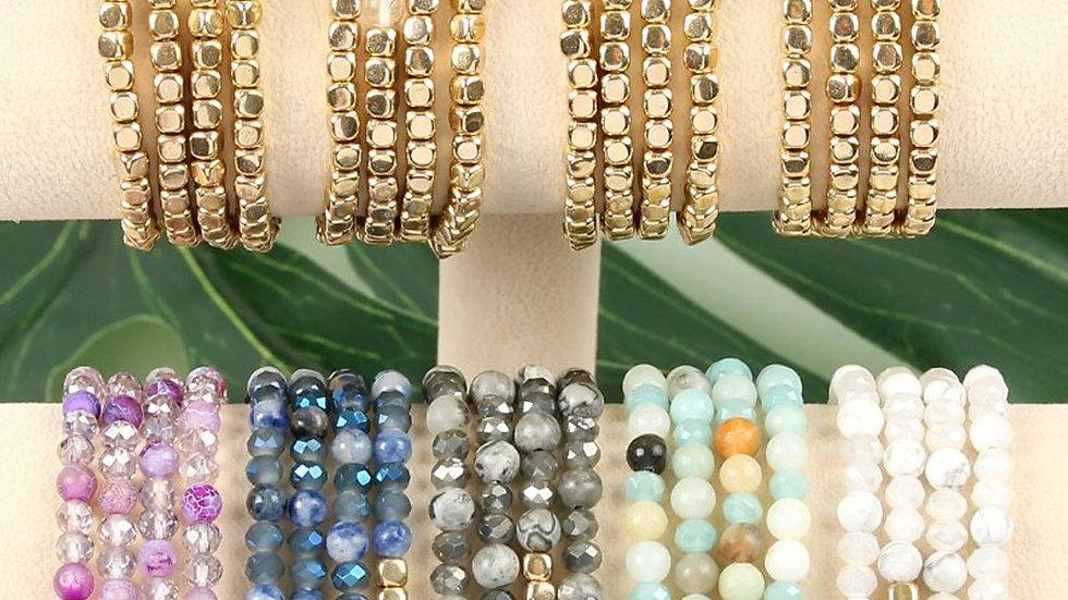 Hdb2274 - Brass, Stone, Glass Four Set Beads Bracelet