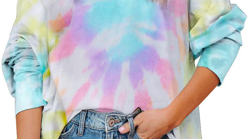 Women Loose Tie-dye Printed T-shirt