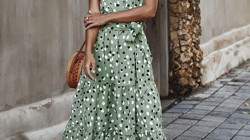 Polka Dot Round Neck High Waist Long Swing Dress