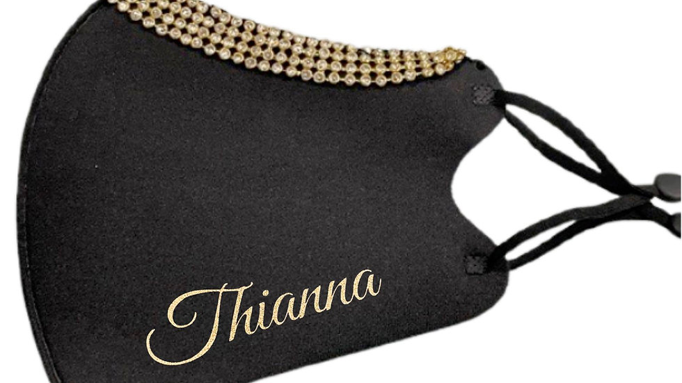 Printed Gold or Champagne Name Bling Fashion Masks
