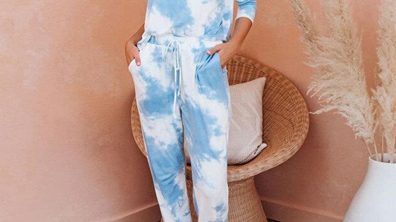 Top and Pant Women Summer Long Sleeve Tie Dye Suit Set