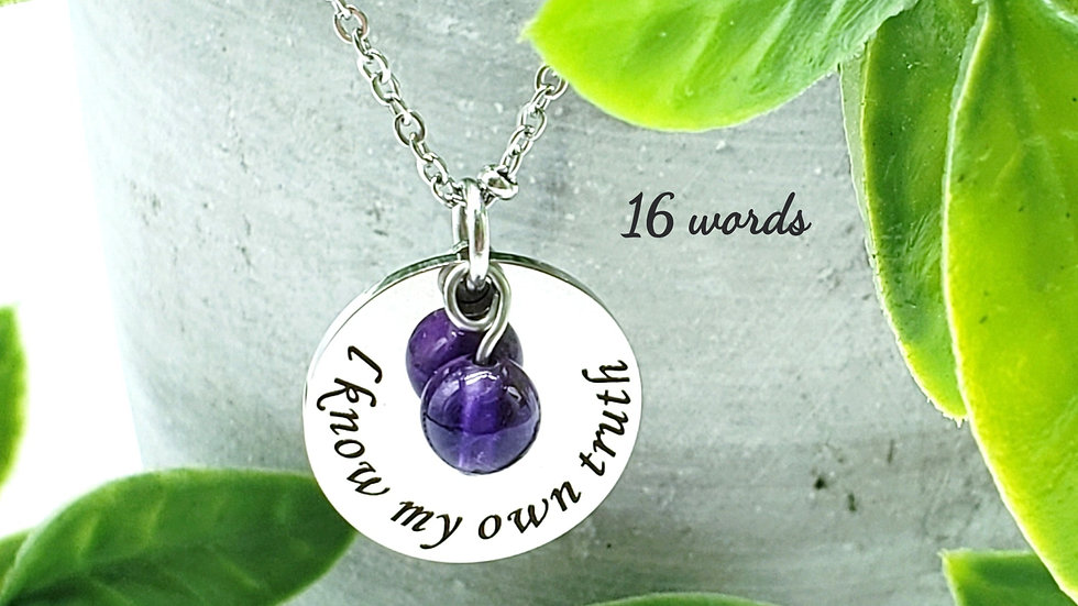 Motivational Word Necklace With Gemstone Bead