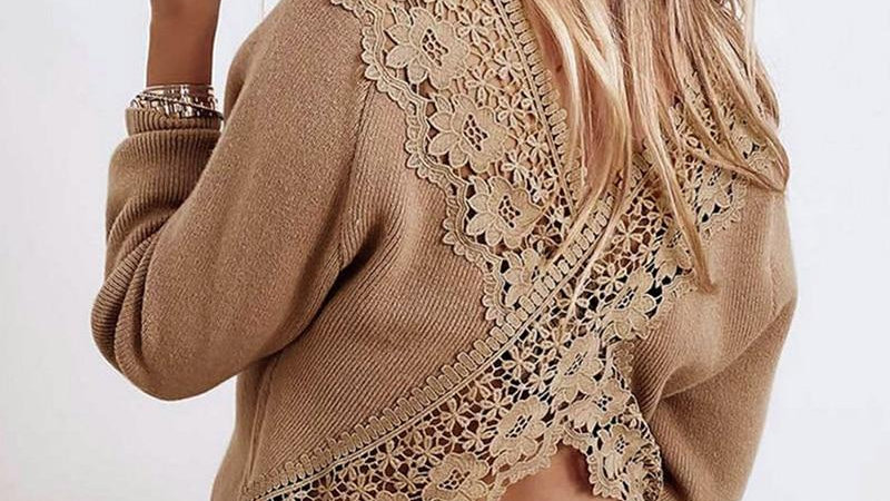 Elegant Solid Lace Hollow Out Blouse Tops