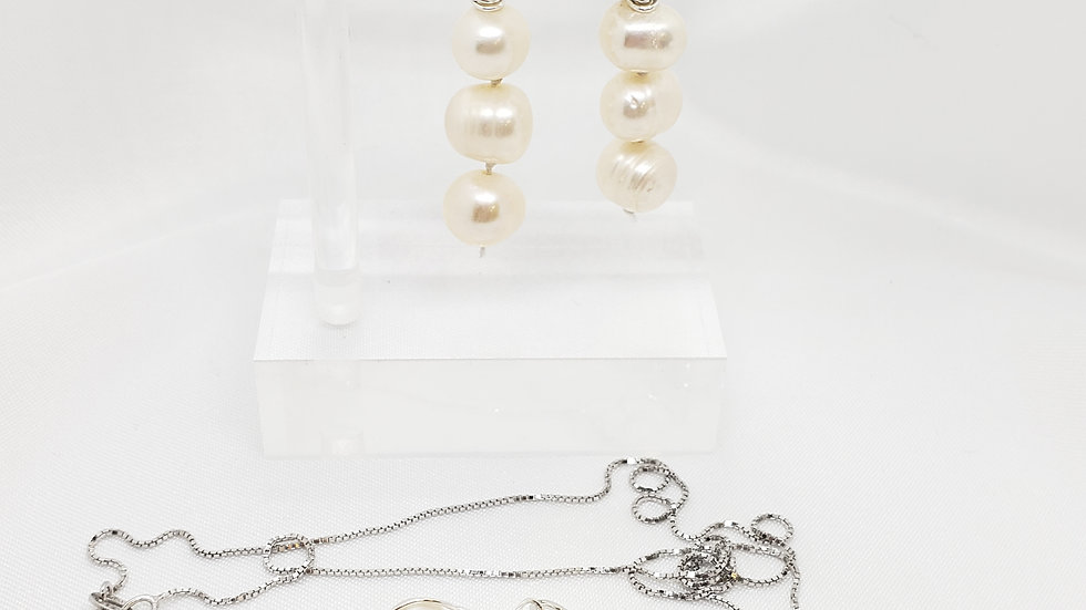Set Pearl Necklace and Earrings 925 Sterling Silver