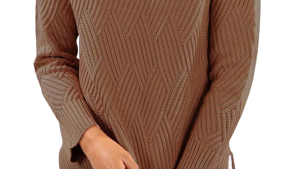 Casual Khaki Side Split Cowl Neck Sweater