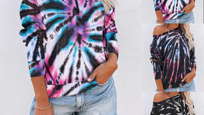 Long Sleeve Tie-dye Printed Tops T-shirt