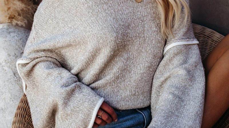 Solid Color Flare Sleeve Knitted Sweater