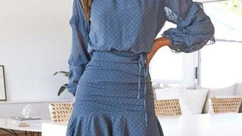 Flare Sleeve Ruffle Printed Autumn Dress