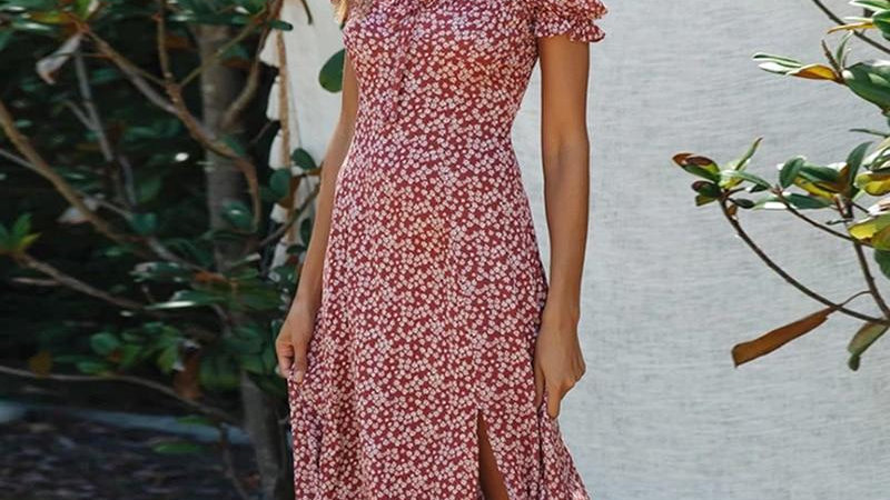 Elegant Summer Dress Floral Print Lady Midi Dress