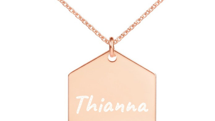 Personalized Engraved Silver Hexagon Necklace