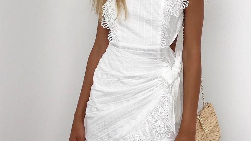 Elegant White Lace Crochet Sexy Bow Tie Backless Bodycon Party Dresses