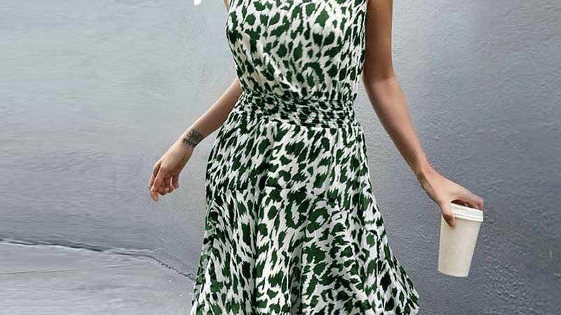 High Neck Elastic Waist Summer Sleeveless Dress