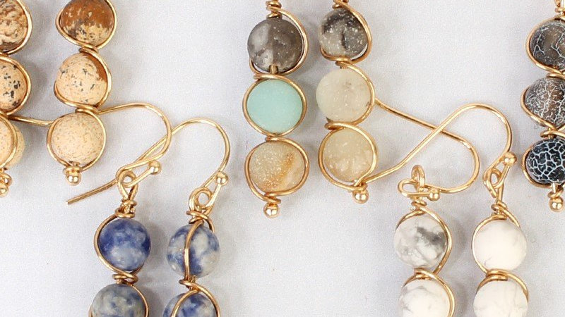 25405 - Natural Stone Wired Earrings