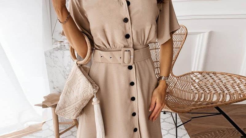 Elegant Button Blazer Dress High Waist Belt Short Sleeve Dress