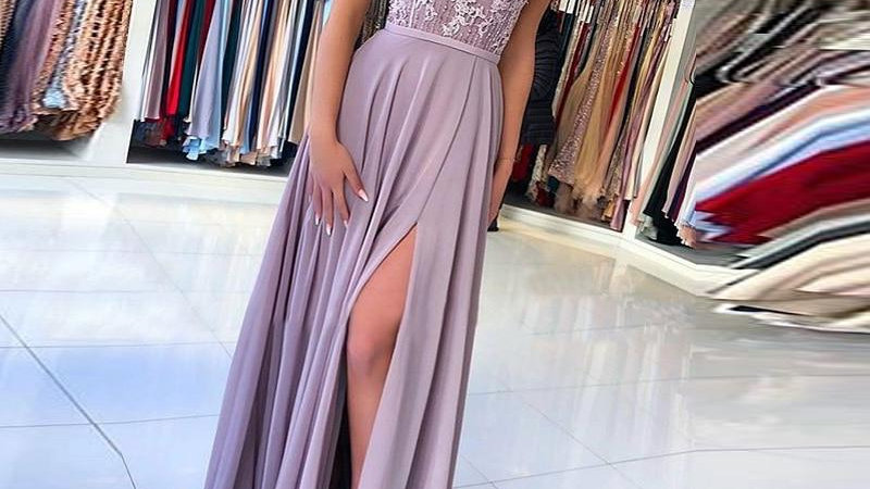 Women Embroidery Lace High Slit Long Dress