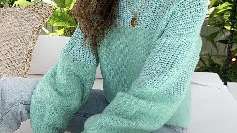 Women Turtleneck Knitted Warm Sweaters Mint Pink Long Sleeve Pullovers
