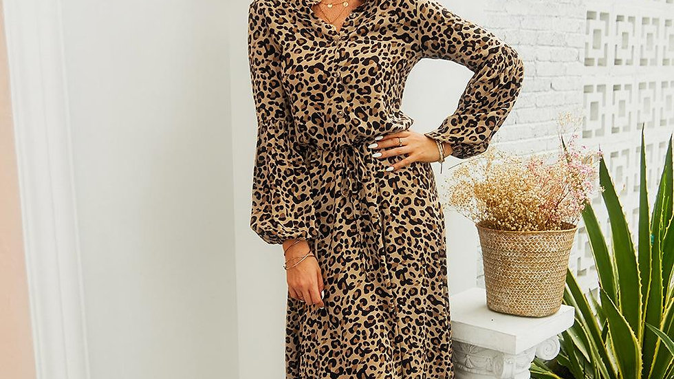 Leopard Printed Long Sleeve Autumn Winter Dress