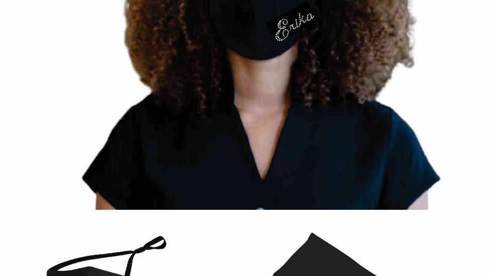 Premium Scripted Rhinestone Name Face Mask