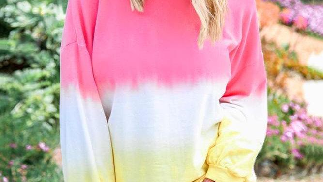 Pink Color Block Tie Dye Pullover Sweatshirt