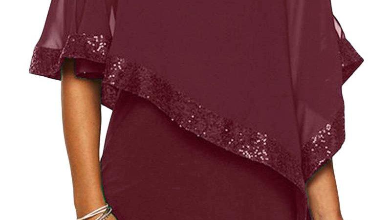 Burgundy Sequined Poncho Mini Dress