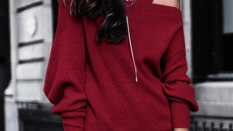Sexy Off Shoulder Straps Knitted Sweatshirt