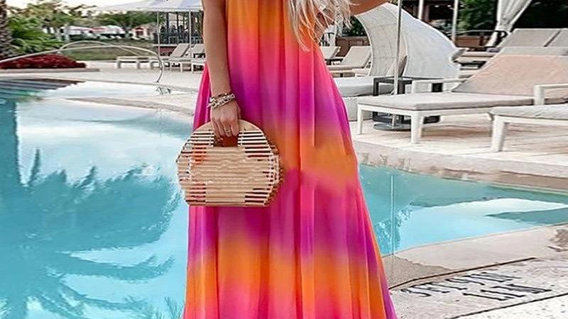 Summer Women New O Neck Spaghetti Strap Chiffon Dress