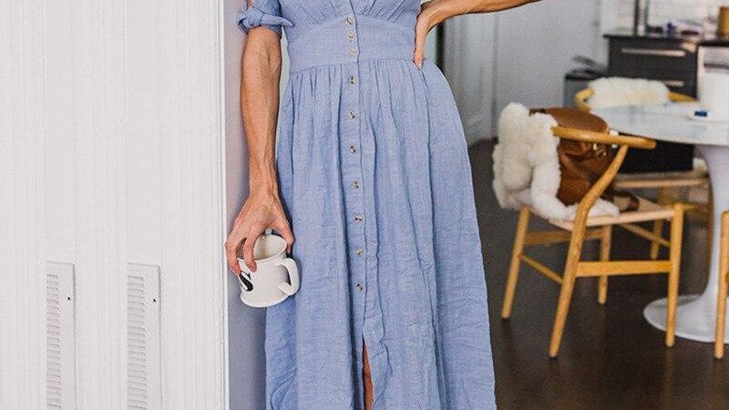 Summer Elegant Deep V-Neck Slit Party Dresses