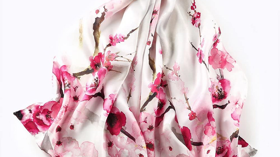 100% Mulberry Silk Scarf-Pink Floral